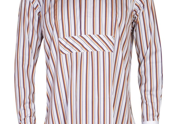 FPC White and Dark Brown Stripes Long Sleeves Shirt